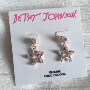 NWT Betsey Johnson | Star Drop Earrings Crystal